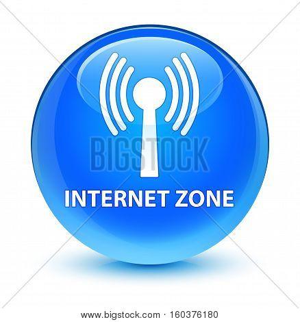 Internet Zone (wlan Network) Glassy Cyan Blue Round Button