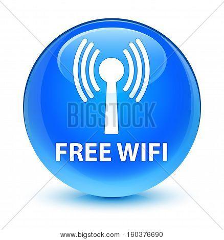 Free Wifi (wlan Network) Glassy Cyan Blue Round Button