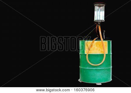 Oil pump on black background for design.
