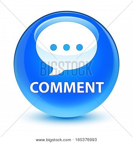 Comment (conversation Icon) Glassy Cyan Blue Round Button