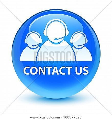 Contact Us (customer Care Team Icon) Glassy Cyan Blue Round Button