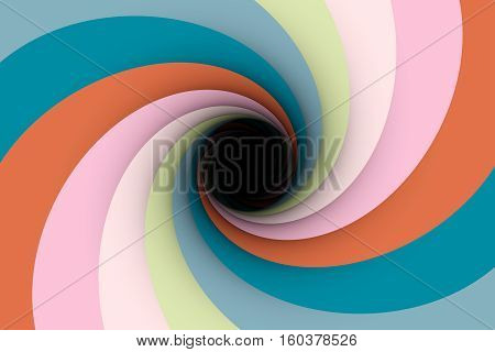 the black hole in the blue pink color 3D illustration