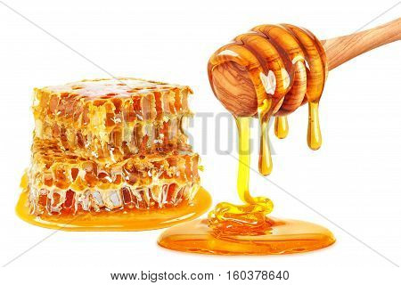 dripping honey and honeycomb isolated on white background