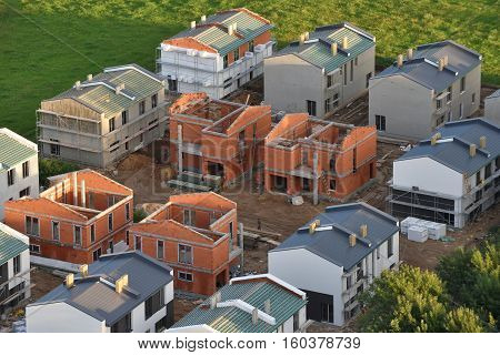 VILNIUS LITHUANIA - AUGUST 11 2016: A new home under construction on August 11 2016 in Vilnius Lithuania. Vilnius is the capital of Lithuania and its largest city.