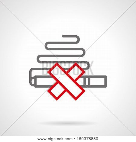 Symbol of crossed cigarette emitting smoke. Sign of prohibiting smoking for public areas. Danger of nicotine for health. Gray and red simple line style design vector icon.