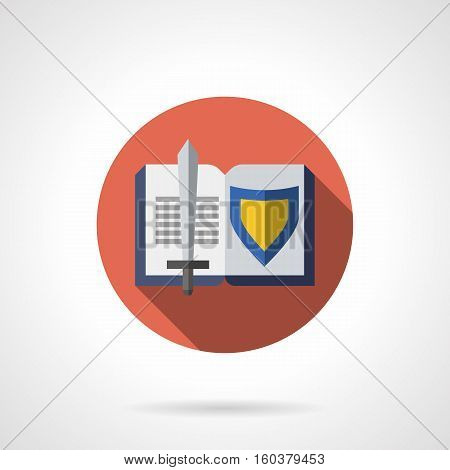 Sword and shield symbols in open book with long shadow. Historical genres of literature. Medieval adventure brave knights, mysterious legends of chivalry. Round flat color design vector icon.
