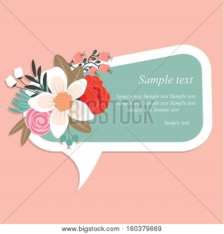 Speech bubble with floral elements on floral background.