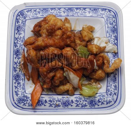 Chinese Food. Chichen In Soya Sauce And Vegetables