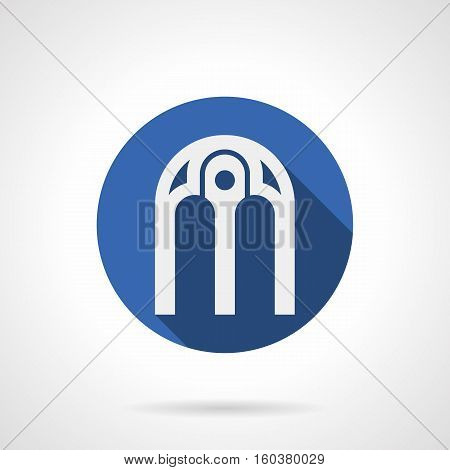 Arch with pillar in middle. Architectural decoration of buildings. Arched frames and elements for windows, doors and gates. White silhouette of Round blue flat design vector icon.
