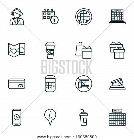 Set Of 16 Airport Icons. Can Be Used For Web, Mobile, UI And Infographic Design. Includes Elements Such As Present, Takeaway, Call And More.
