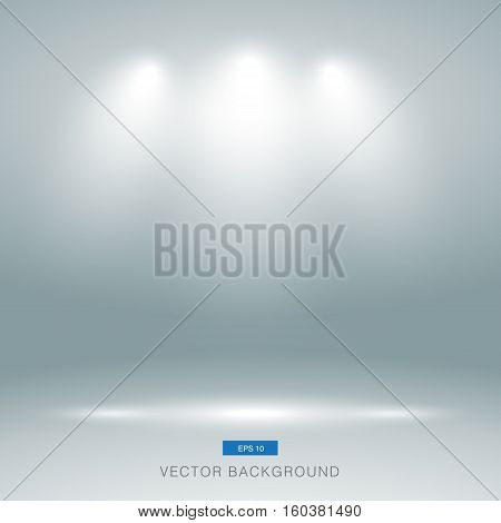 Empty gallery wall with lights effect for images and advertisement vector