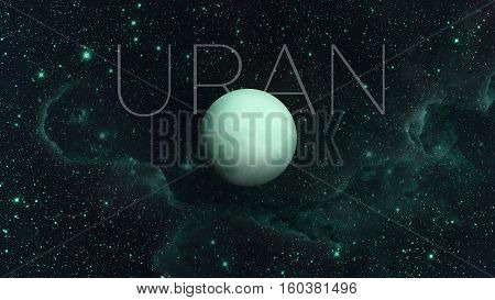 Solar System - Uranus. It is the seventh planet from the Sun and the third-largest in the Solar System. It is a giant planet. Uranus has 27 known satellites. Elements of this image furnished by NASA.