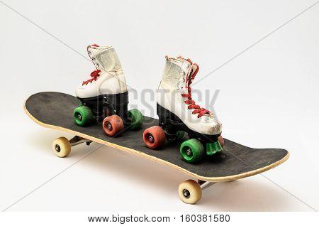 Old Used Wooden Skateboard