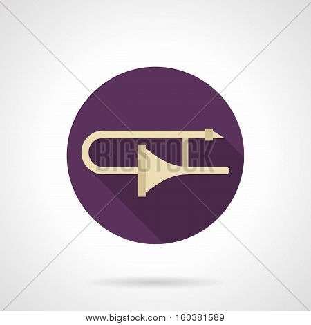 Symbol of golden trombone with long shadow. Brass wind musical instrument. Symphony orchestra and jazz music. Solo performance on concerts and studio. Round purple flat design vector icon.