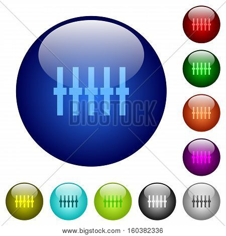 Graphical equalizer icons on round color glass buttons