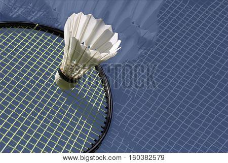 Closeup abstract arrangement of shuttlecock and racket