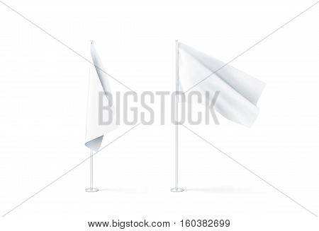 Blank white flags mockup set plain and waving 3d rendnering. Clear rippled flagpole design mock up. Pole with banner on wind. Business branding cloth pennon. Clean pillar for logo presentation.