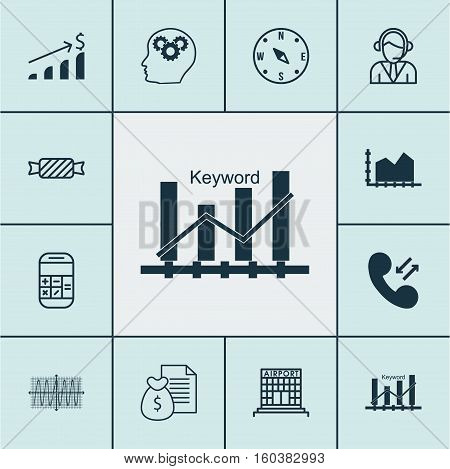 Set Of 12 Universal Editable Icons. Can Be Used For Web, Mobile And App Design. Includes Elements Such As Keyword Optimisation, Brain Process, Report And More.