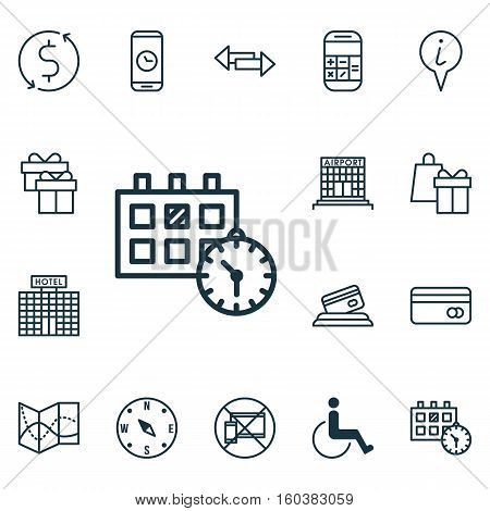 Set Of 16 Travel Icons. Can Be Used For Web, Mobile, UI And Infographic Design. Includes Elements Such As Airport, Crossroad, Dollar And More.