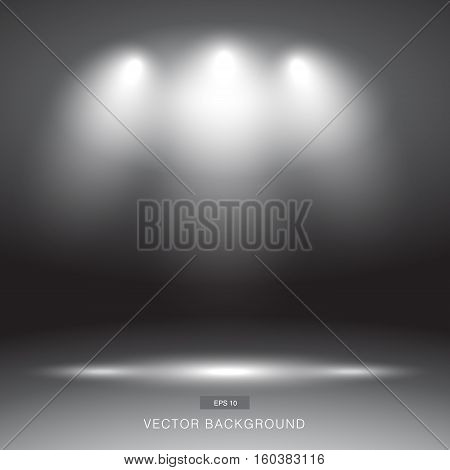 Empty dark or black gallery wall with lights effect for images and advertisement vector