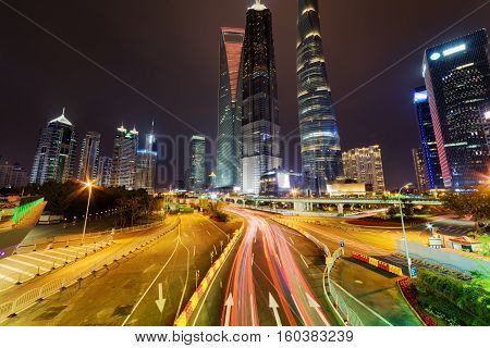 Night View Of Century Avenue And Skyscrapers, Shanghai, China