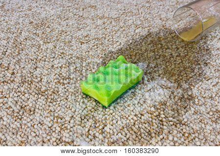Glass of orange juice fell on carpet. Drink spilled on floor. Sponge and detergent