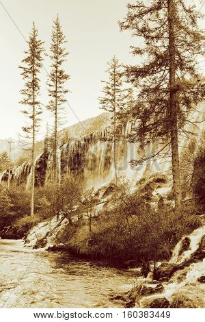 Amazing View Of The Pearl Shoals Waterfall. Sepia Toning