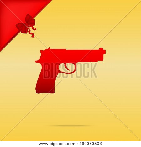 Gun Sign Illustration. Cristmas Design Red Icon On Gold Backgrou