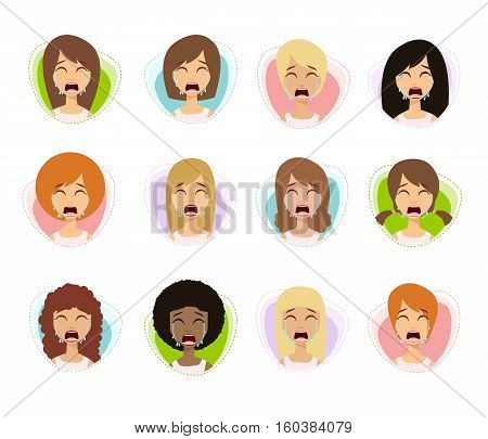 Unhappy Woman Crying Set. Sadness Girl Emotions. Set Of Depressed Women