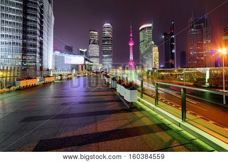 Night View Of Skyscrapers And Century Avenue In Shanghai, China