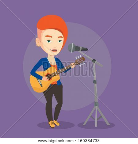 Caucasian woman playing guitar. Guitar player singing song and playing an acoustic guitar. Vector flat design illustration. Square layout.