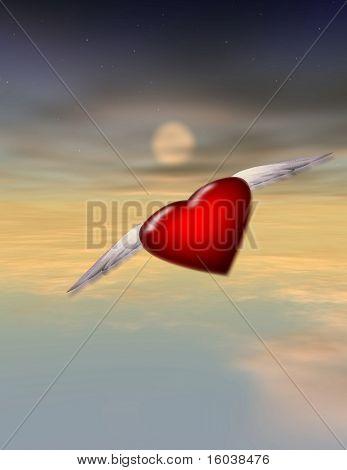 Single gevleugelde Heart - alleen - Lonely - reis - liefde