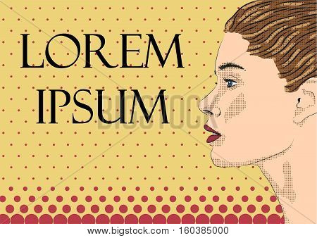 Woman female lady girl person young caucasian model profile looking text space. Vector horizontal beautiful pop art modern design sign signboard poster close-up side view illustration color background