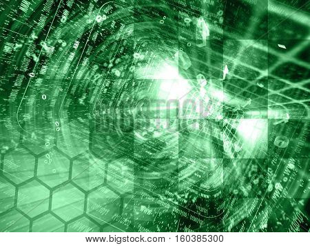 Computer background in greens with tunnel and digits.