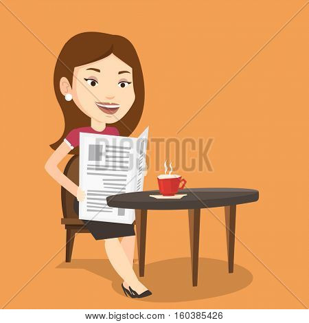 Caucasian woman reading newspaper in a cafe. Young woman reading the news in newspaper. Woman sitting with newspaper in hands and drinking coffee. Vector flat design illustration. Square layout.