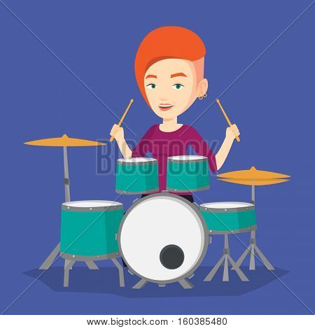 Young woman playing on drums. Caucasian mucisian playing on drums. Smiling young woman playing on drum kit. Happy woman sitting behind the drum kit. Vector flat design illustration. Square layout.