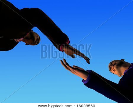 2 man about to shake hands viewed from ground