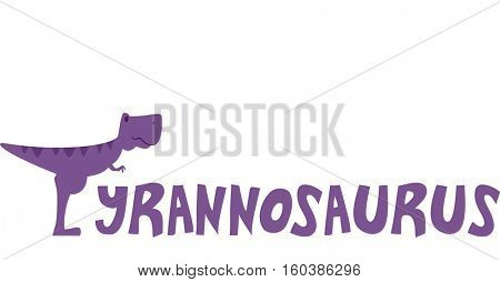 Typography Illustration Featuring a T-Rex Standing Beside the Word Tyrannosaurus