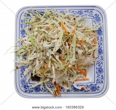 Chinese Food. Hot Salad With Cabbage And Vegetables