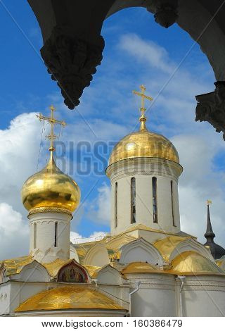 Old Russian architecture temples monasteries Orthodoxy gold ring