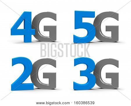 Blue and grey 5g 4g 3g 2g symbols icons or buttons isolated on white background three-dimensional rendering 3D illustration