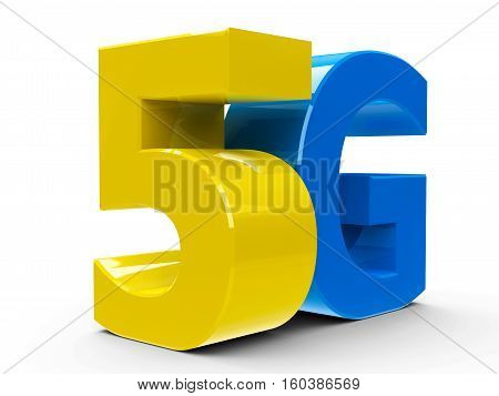 Yellow and blue 5g symbol icon or button isolated on white background three-dimensional rendering 3D illustration