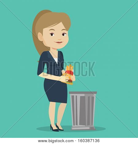 Caucasian woman putting junk food into a trash bin. Woman refusing to eat junk food. Woman rejecting junk food. Diet concept. Vector flat design illustration. Square layout.