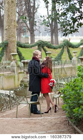 Romantic Couple In Love Having A Date In The Luxembourg Garden