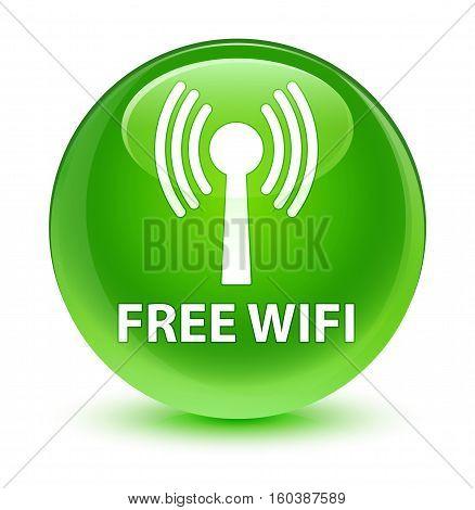 Free Wifi (wlan Network) Glassy Green Round Button