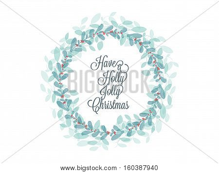 Christmas greetings card with green leaf and red holly jolly created with watercolor brushes effect
