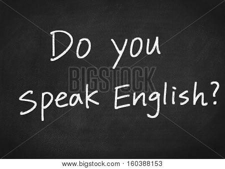 do you speak English text on blackboard background