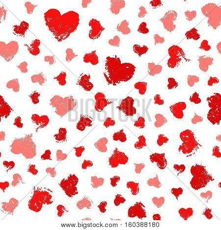Vector Valentine background. Painted Hearts Seamless Pattern. Distress texture ornament. Romantic decoration gift paper, greeting card, banner, wallpaper. Irregular decorative design. Chaotic order.