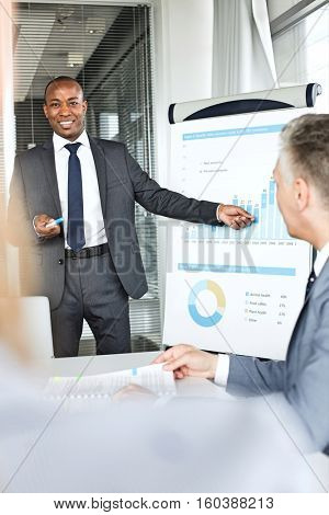 Smiling young businessman giving presentation in board room