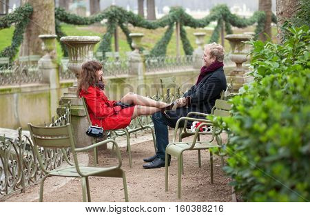 Romantic Couple Having A Date In Park